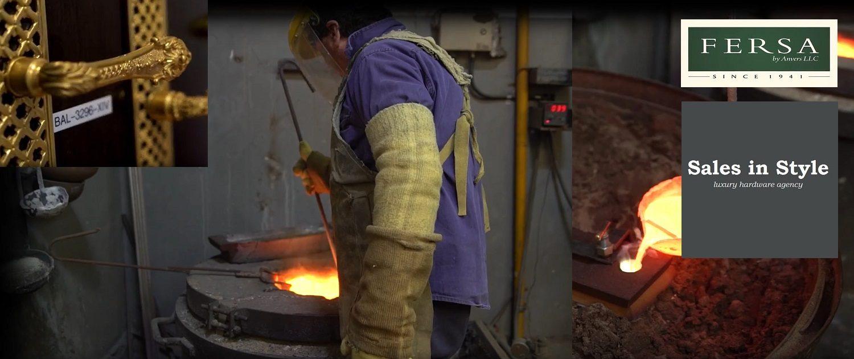 Ambachtelijk messing bouwbeslag gieten bij Fersa The Hardware Jewelers